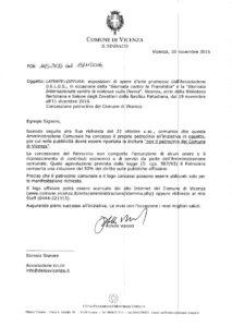 patrocinio del Comune di Vicenza novembre 2016